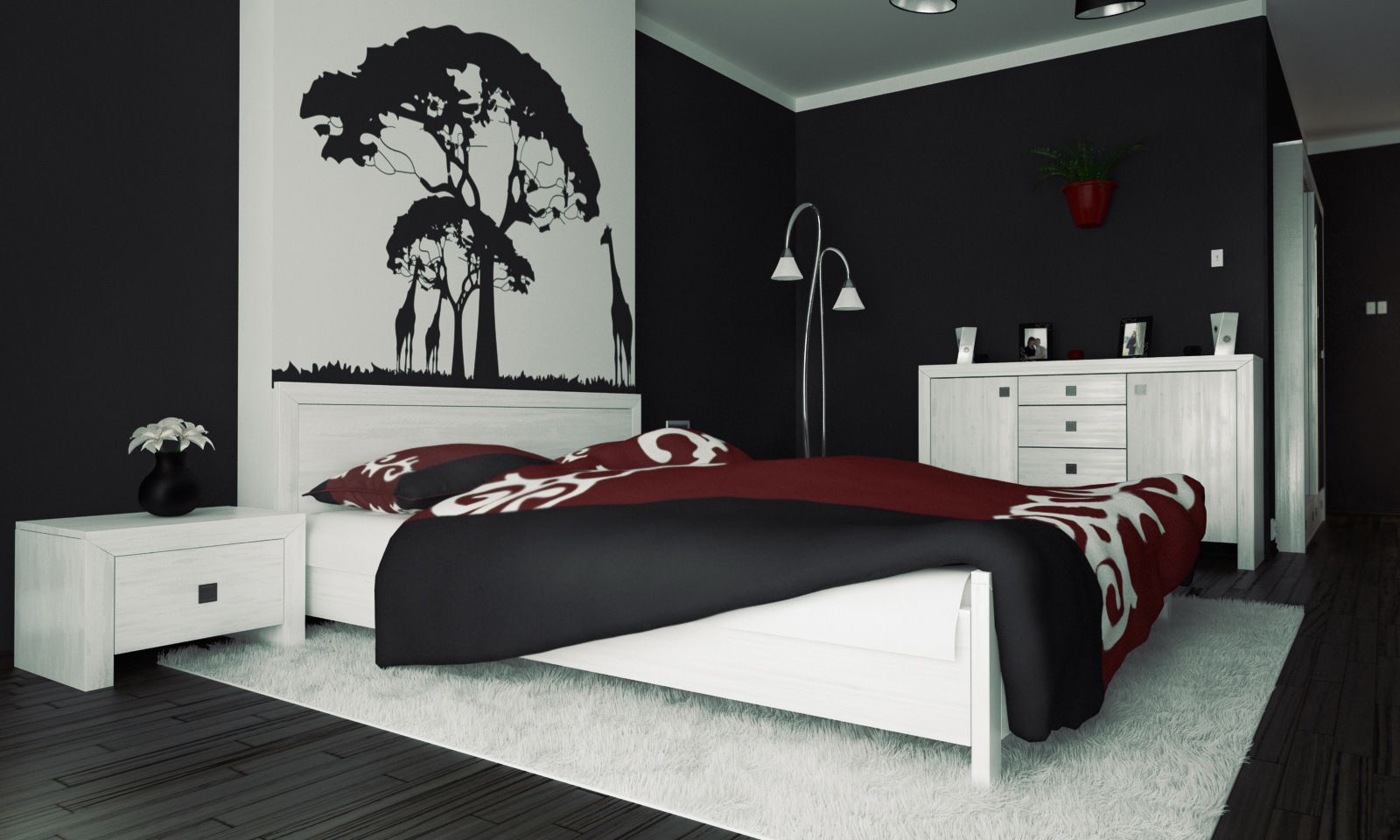 Image result for lime green grey and black bedroom | Black ...