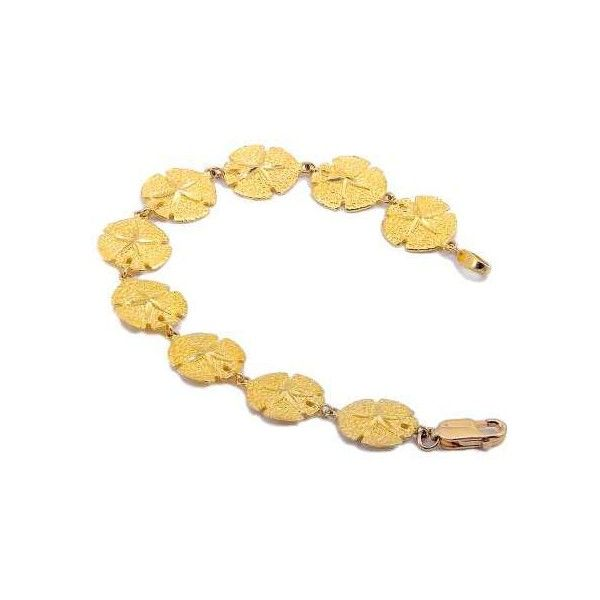 14k Gold Sand Dollar Bracelet via Polyvore featuring jewelry