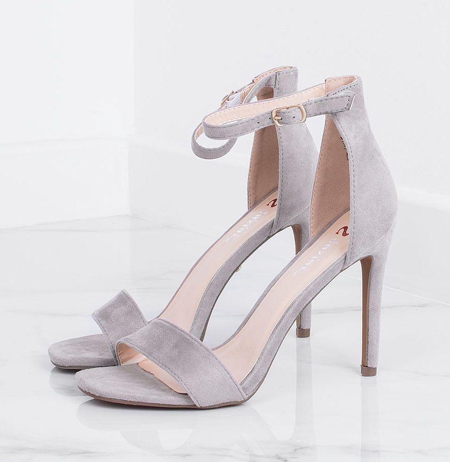 Szare Zamszowe Szpilki Sandaly Celine Heels Shoes Fashion