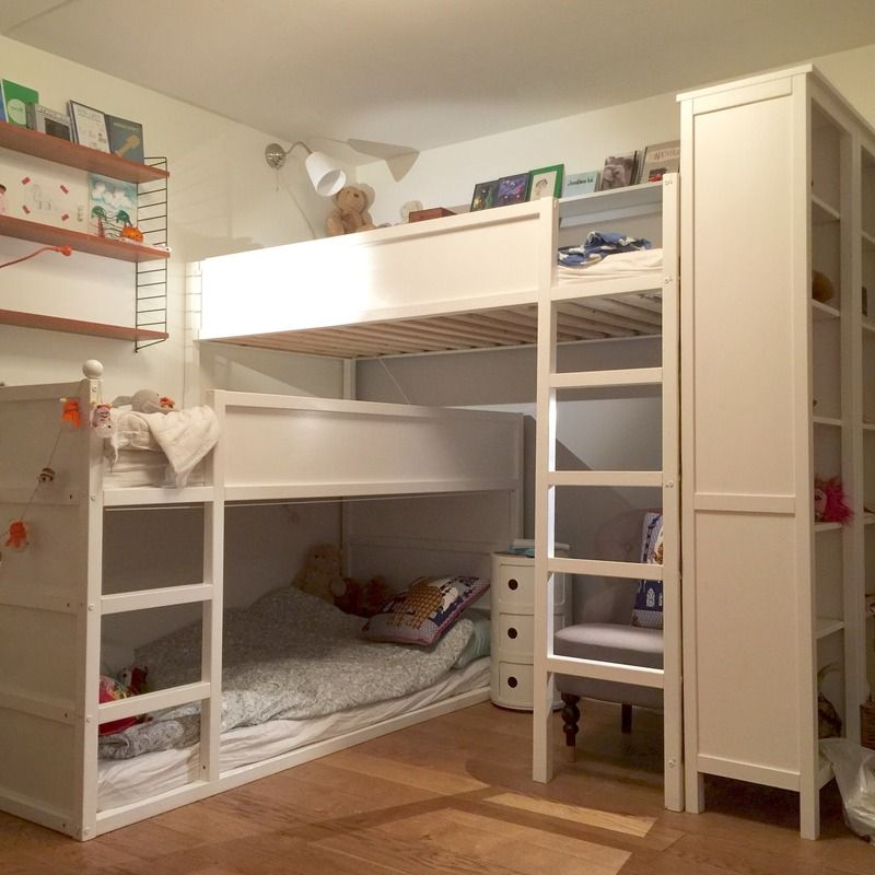 my kids room makeover a bunk bed for three made of two ikea kura beds