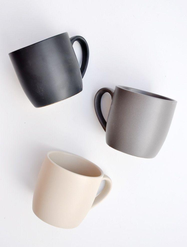 Marin 16-Piece Matte Black Dinnerware Set + Reviews ...  |Black Stoneware Pottery Mug