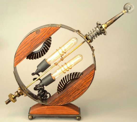 SOLD A Lamp named Axle - Superb Lamp of Steel, Wood, Gears, Electricity and Imagination SOLD