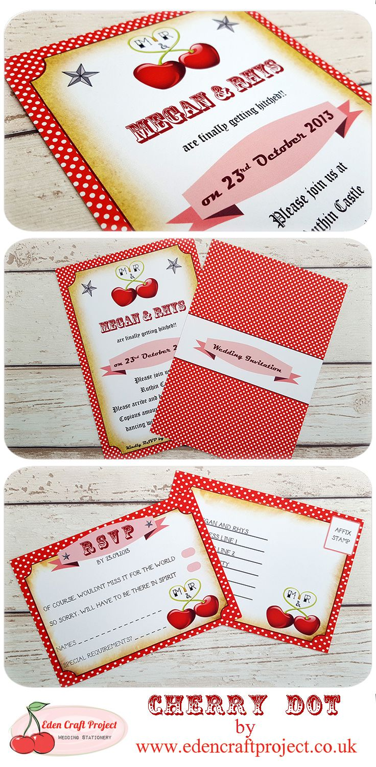 Cherry Dot Wedding Invitation. Perfect for those Retro, Vintage ...
