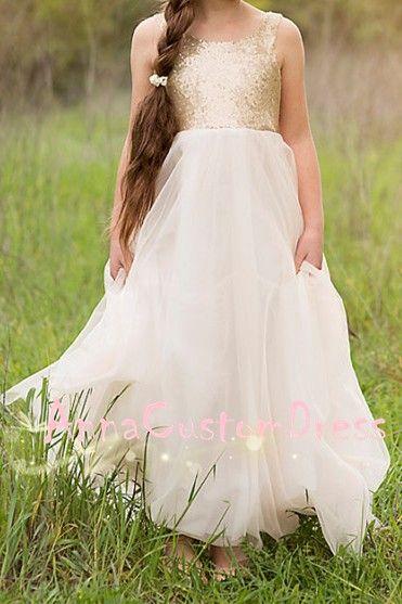 02a375e0451 V-back Floor-length Light Gold Sequin Ivory Tulle Flower Girl Dress ...