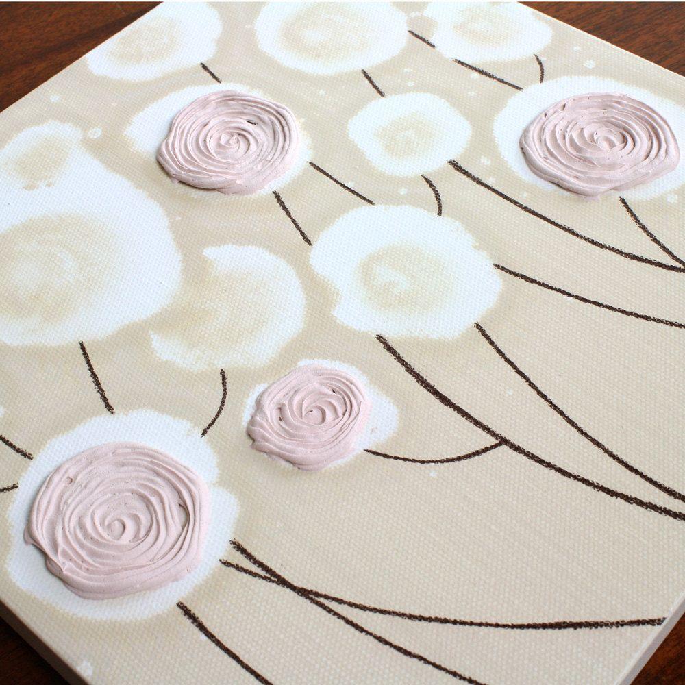 Baby Girl Nursery Art - Khaki Painting of Roses