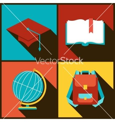 Background with education icons in flat design vector  - by incomible on VectorStock®
