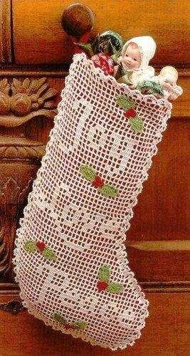 X062 Filet Crochet PATTERN ONLY Old-Time Christmas Stocking Joy Love ...