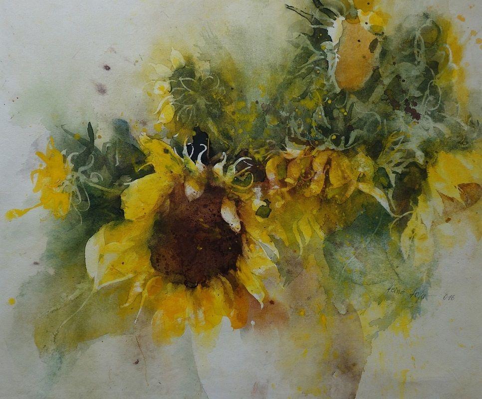 Heinz Hofer Sonnenblumen Blumen Aquarell Sonnenblumen Malen