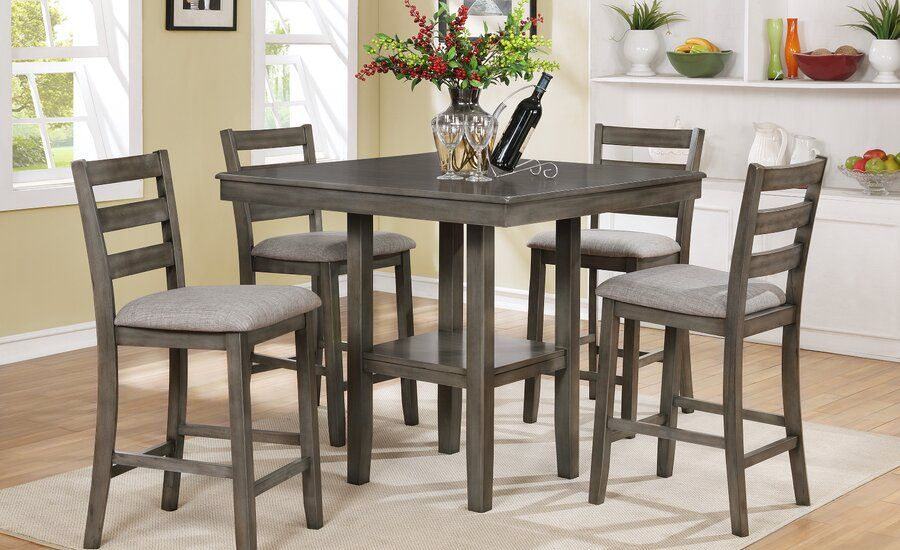 Sela 5 Piece Counter Height Solid Wood Dining Set In 2020 Counter Height Dining Sets Counter Height Dining Table Solid Wood Dining Set