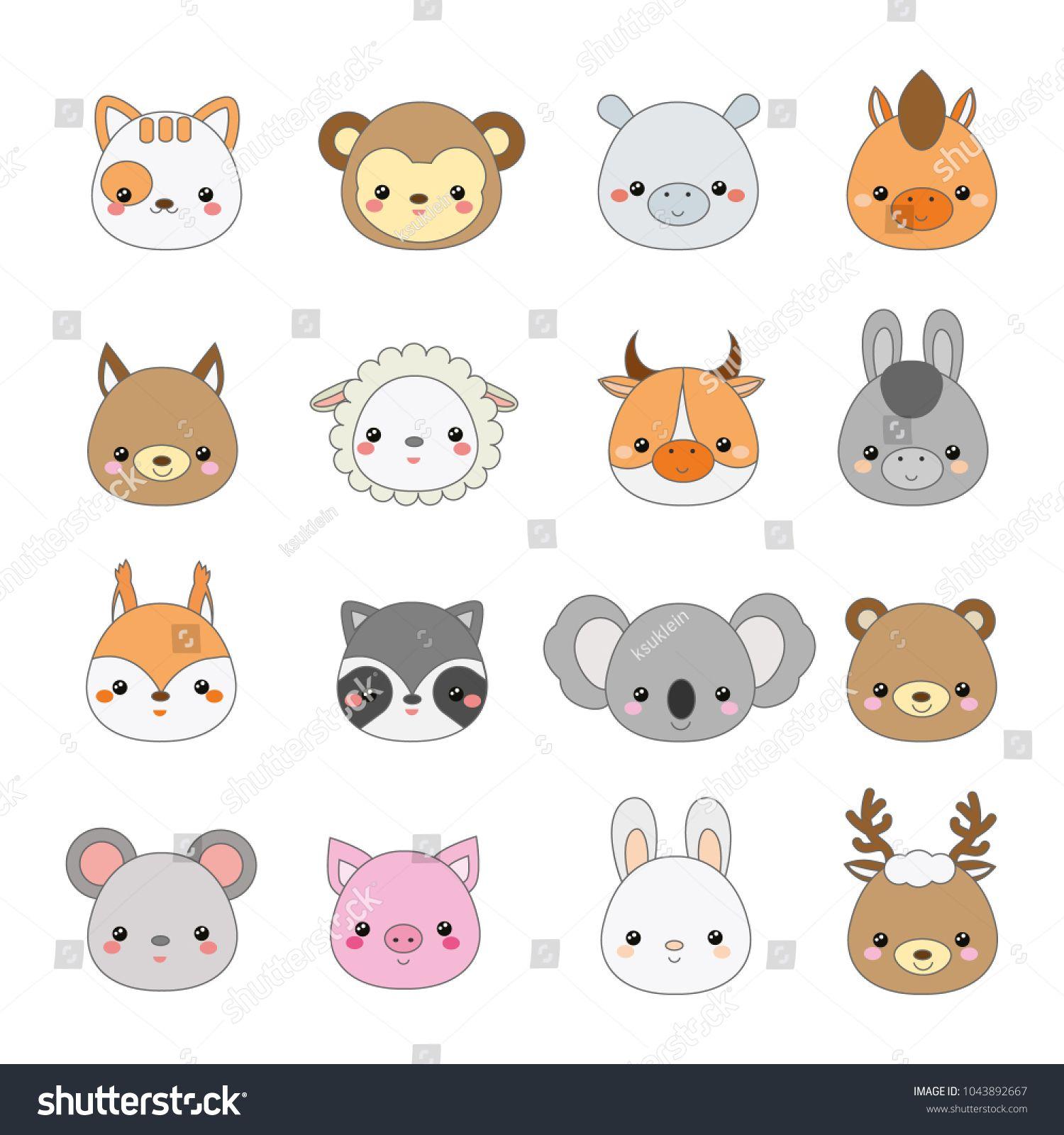 Cute Animals Faces Big Set Of Cartoon Kawaii Wildlife And Farm Animals Icons Stickers Emoji De Cute Animals With Funny Captions Animal Icon Cartoon Animals