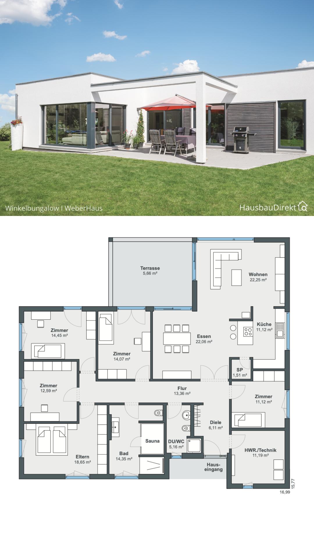 Winkelbungalow modern mit Flachdach im Bauhausstil bauen, Bungalow Haus Grundriss 180 qm gross