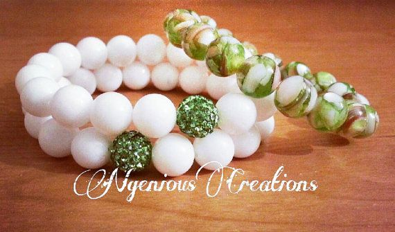 Oh So Pretty Gemstone Pave Stacked Bracelet Set in Green by NGeniousCreations, $50.00
