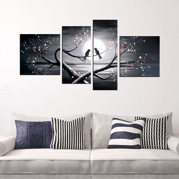 Hand painted heart to heart talk 4 piece oil gallery wrapped canvas art set overstock shopping top rated otis designs canvas