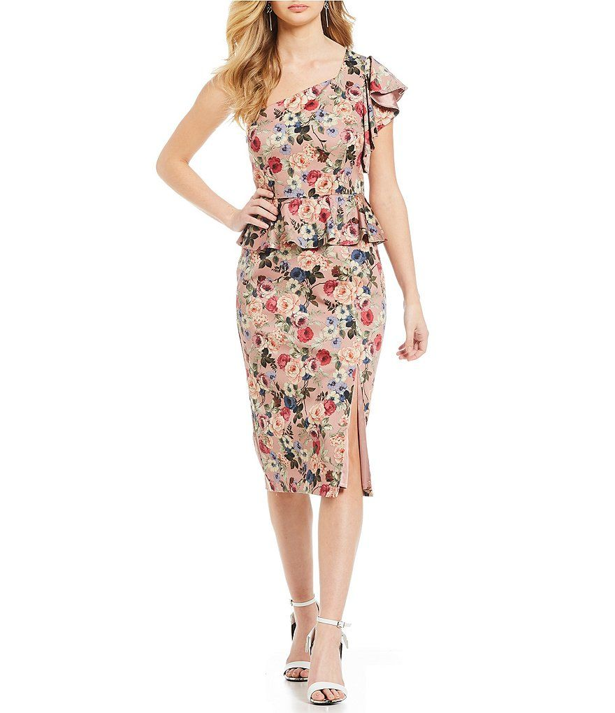 3a6b351c2d Gianni Bini Danielle One Shoulder Floral Print Peplum Sheath Dress#Danielle,  #Shoulder,