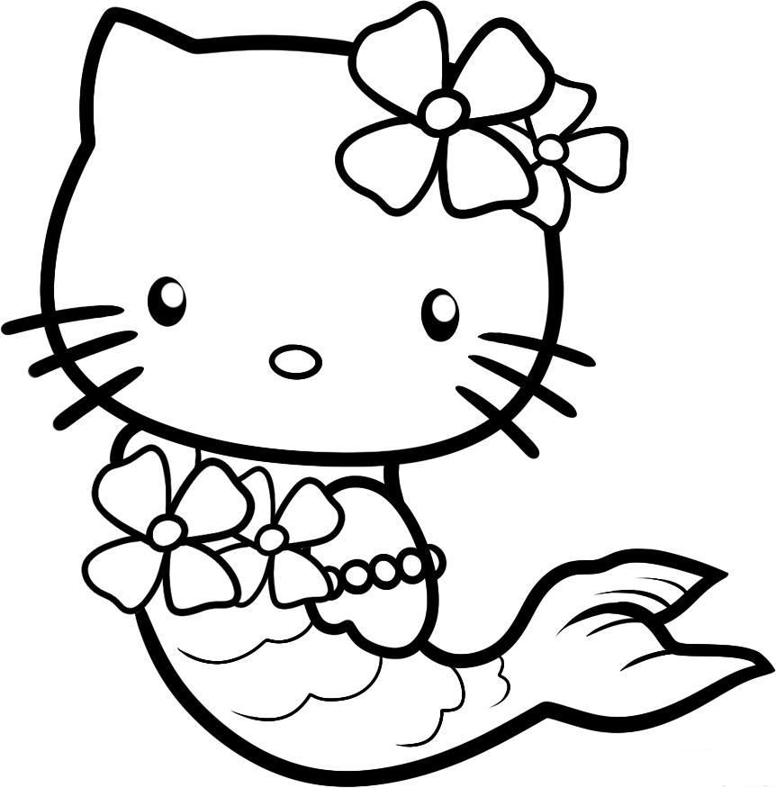 Hello Kitty Into A Mermaid Coloring Pages For Kids Printable