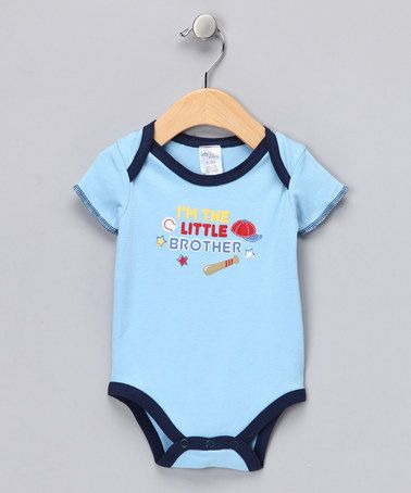 Take a look at this Blue & Navy 'I'm the Little Brother' Bodysuit by Kushies on #zulily today!