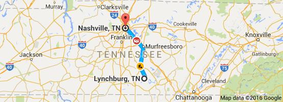 Map from Lynchburg TN USA to Nashville TN USA Nashville