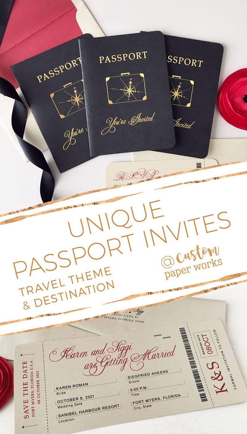 Wedding Passports as Invitations for Travel Theme Wedding