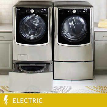 Lg Twin Wash Mega Capacity 5 2 Cuft Turbowash Steam Washer W Sidekick Pedestal Washer 9 0cuft Steam Electric Dryer In Gray Wm9000hva Laundry Pedestal Washer Dryer Gas Dryer