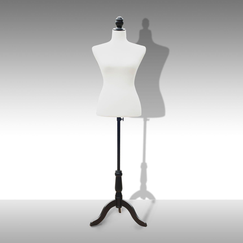 Adjustable Female Mannequin Torso Dress Form Display W/ Black Tripod ...