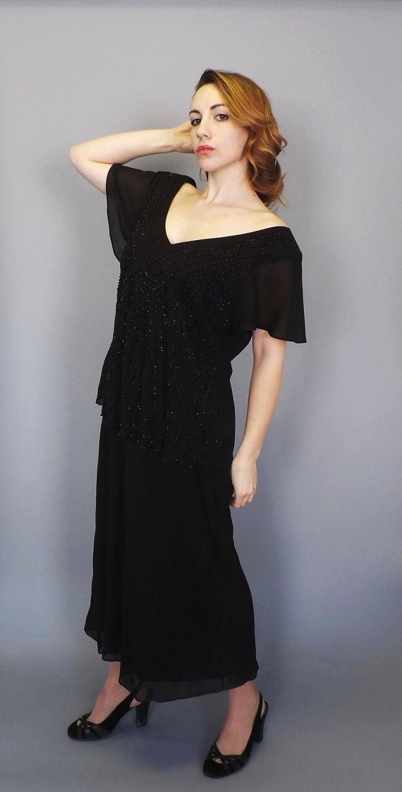 Plus Size 18 Vintage 80s does 20s Black Beaded Gown Great Gatsby ...
