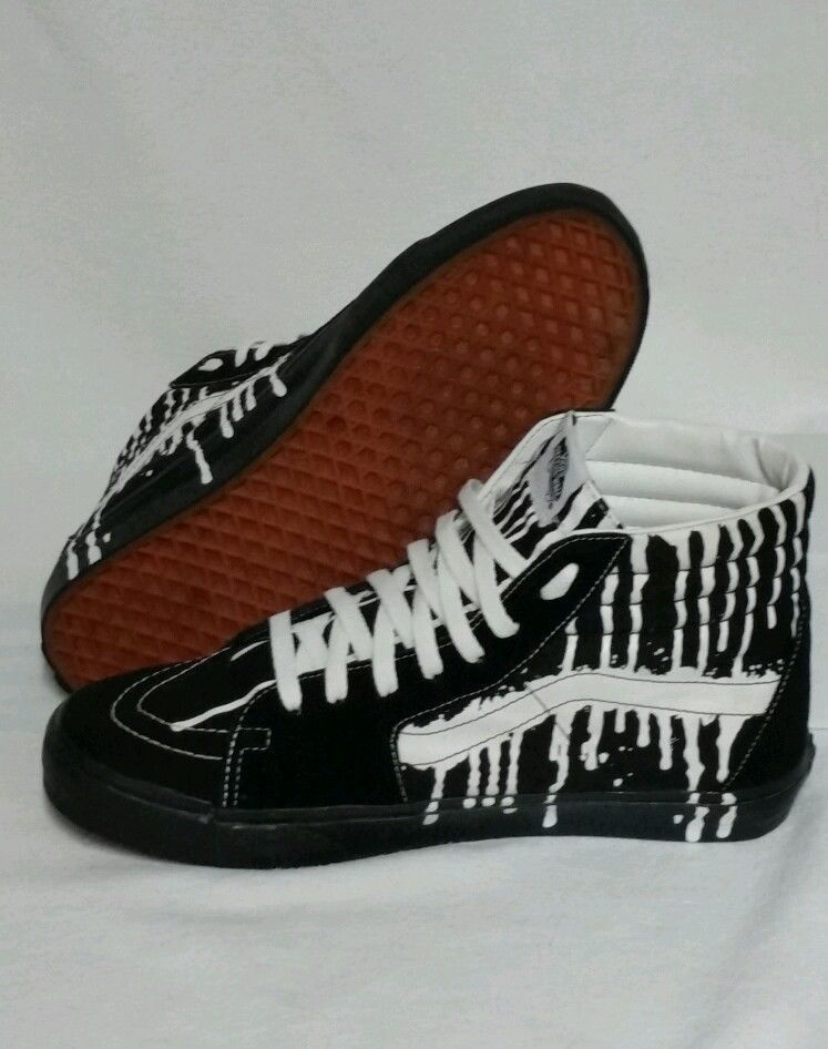 VANS OFF THE WALL.MENS Sz.12 BLACKWhite PAINT DROP HI TOP