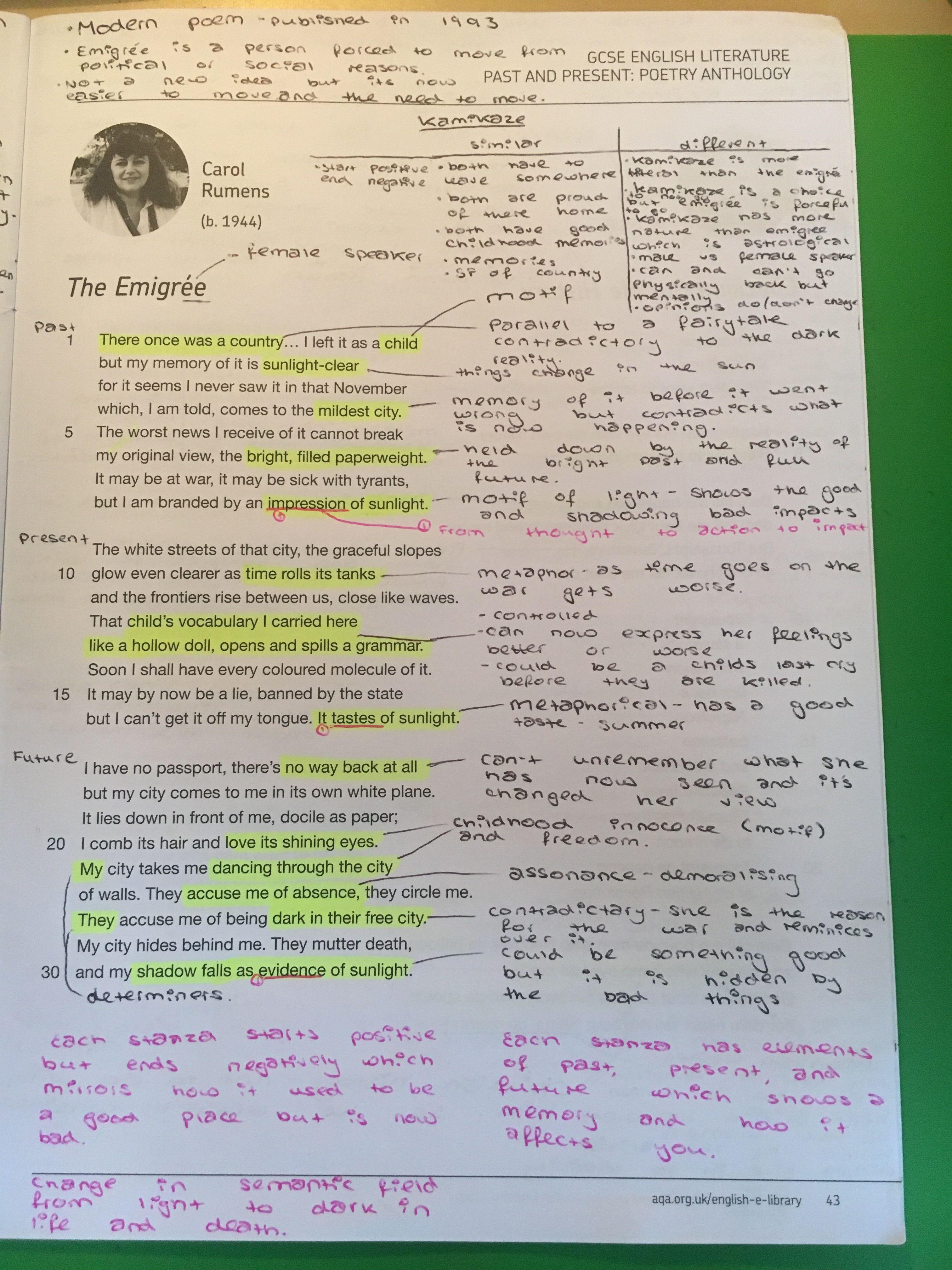 The Emigree English Literature Note Gcse Language My Last Duches Poem Line By Analysis