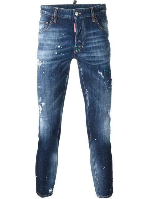 NAVY BLUE Skater Jean distressed jeans  Dsquared2  Jeans