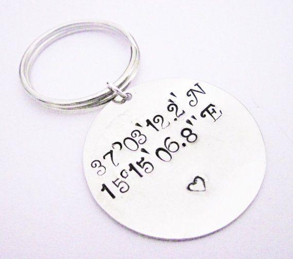 Latitude Longitude Keychain, Personalized Gift, Stamped