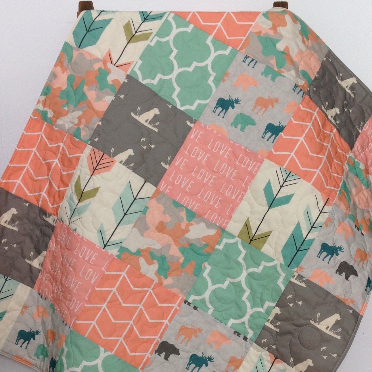 Baby Quilt, Girl, Moose, Bear, Dog, Woodland, Camo, Arrows, Gray, Mint,  Coral, Teal, Gray, Crib Bedding, Baby, Bed, Nursery, Children
