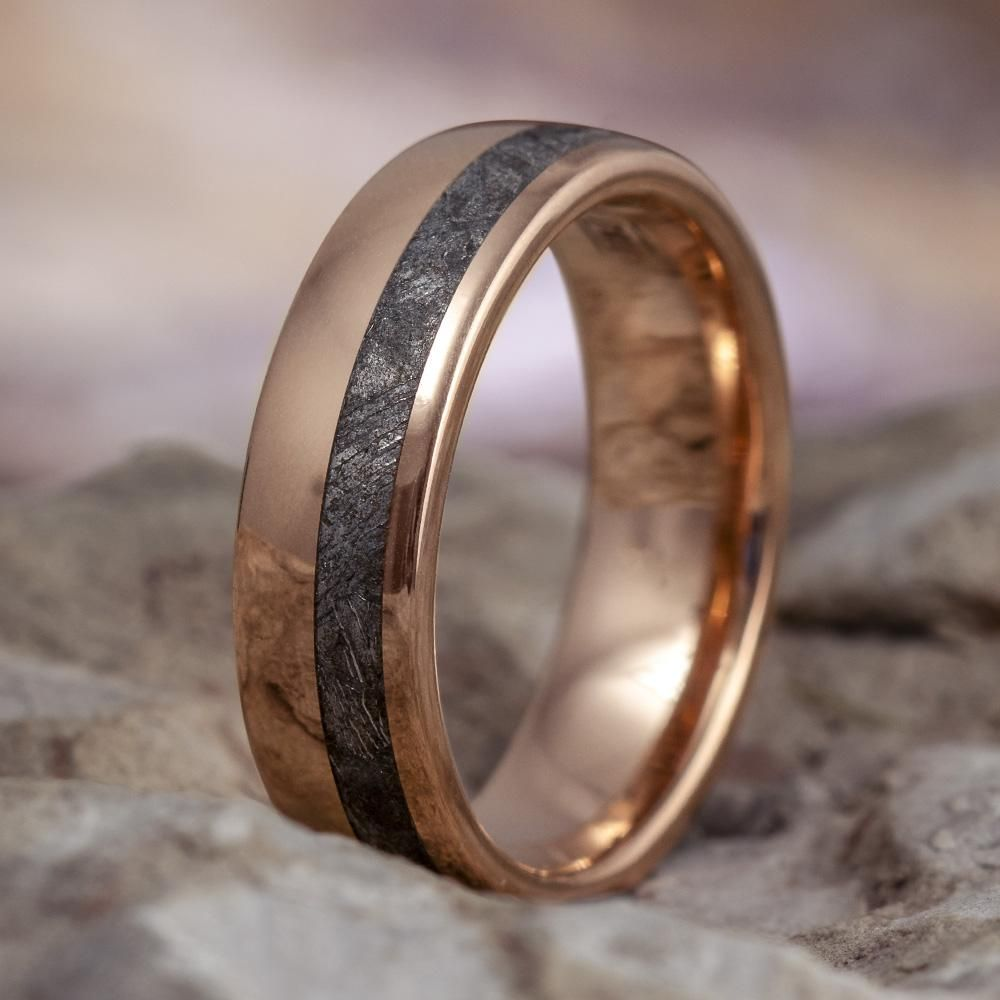 Rose Gold Wedding Band With Meteorite Space Ring 2660 Mens Gold Wedding Band Rose Gold Mens Wedding Band Mens Wedding Rings