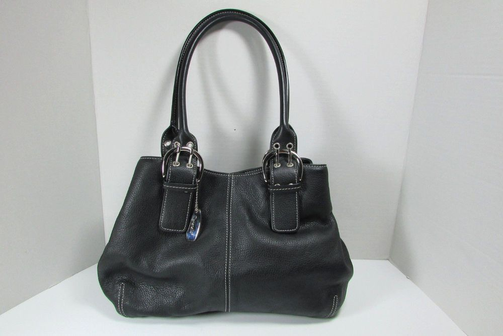 c57f474688be Tignanello Designer Black Leather Satchel Handbag Purse  Tignanello  Satchel
