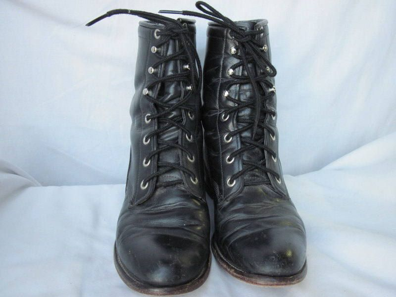 adc60aabd46e9 sz 8 b vintage black leather justin lace up granny combat boots by ...