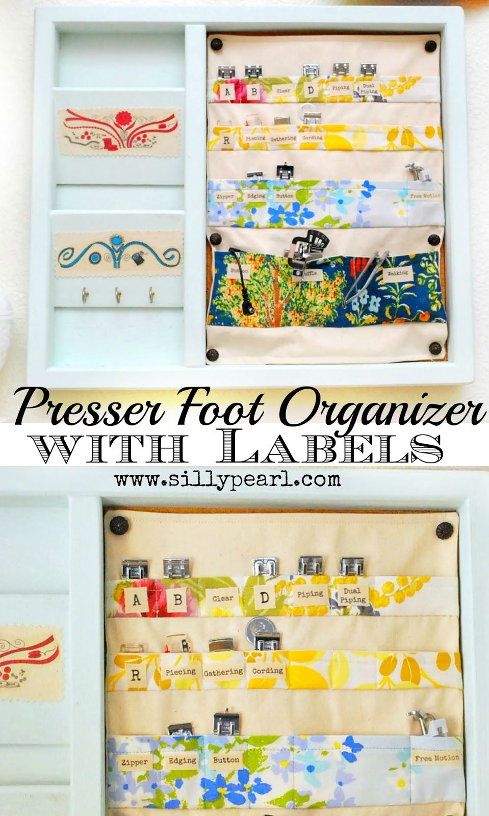 The Silly Pearl {Handmade}: Presser Foot Organizer with TAP Labels