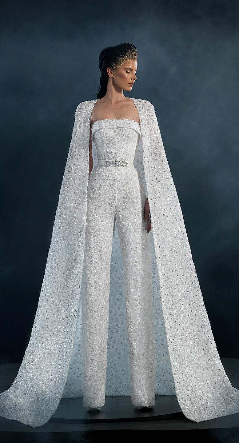 Naja Saade Couture 2019 Wedding Dresses - Starlight 2019 Bridal Collection - Jumpsuit wedding dress with loyal train #wedding #weddingdress #weddinggown