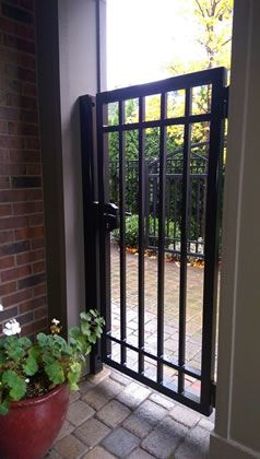 Custom Pedestrian Gate With Double Channel Rails Lever