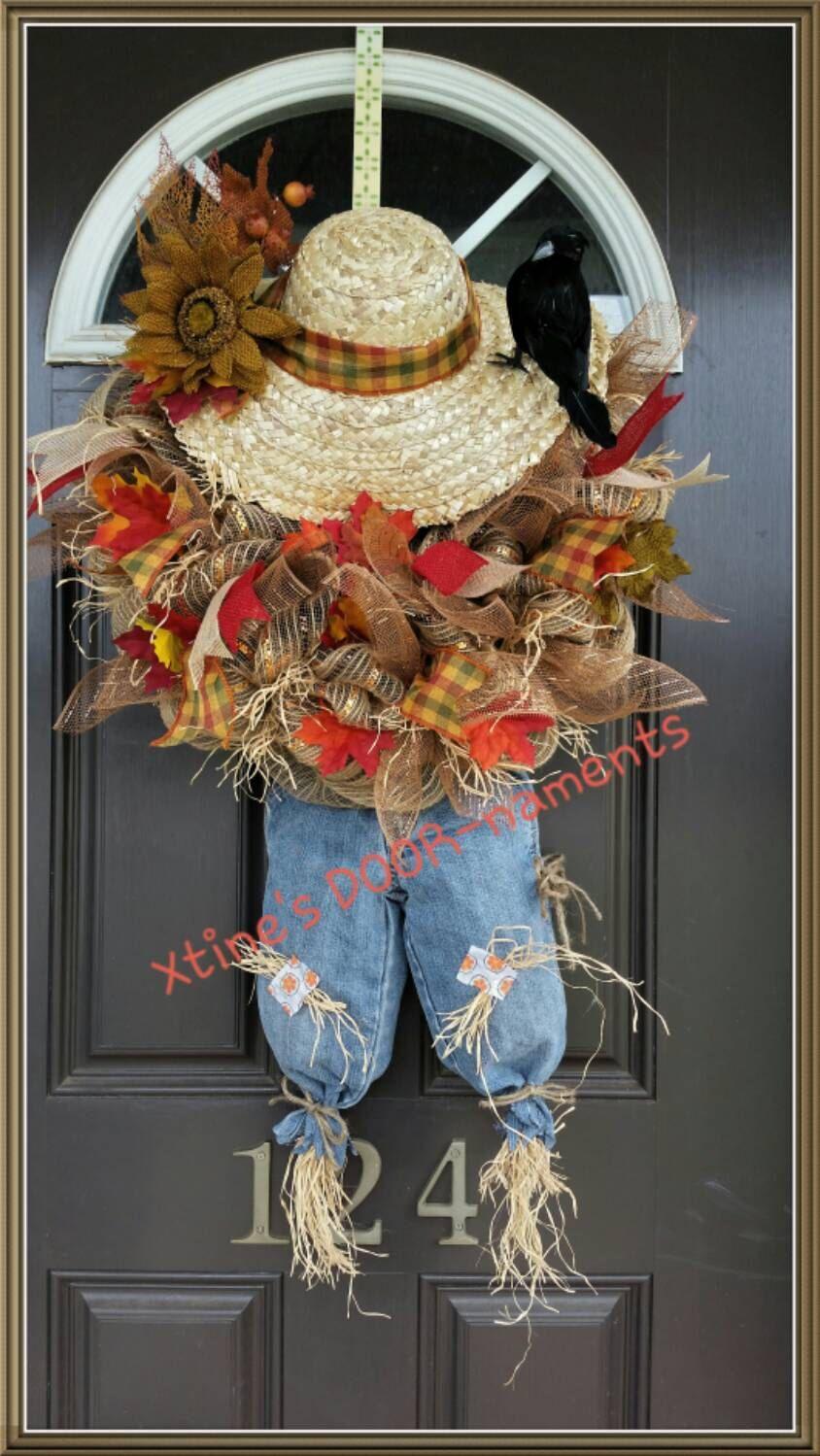 30 Gorgeous Fall Wreaths   Scarecrow wreath, Scarecrows and Wreaths