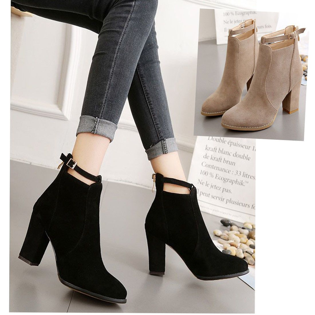 bf6aed1bc530 Women s Girls Solid Martin Boots Autumn High Heel Zipper Casual Winter Shoes