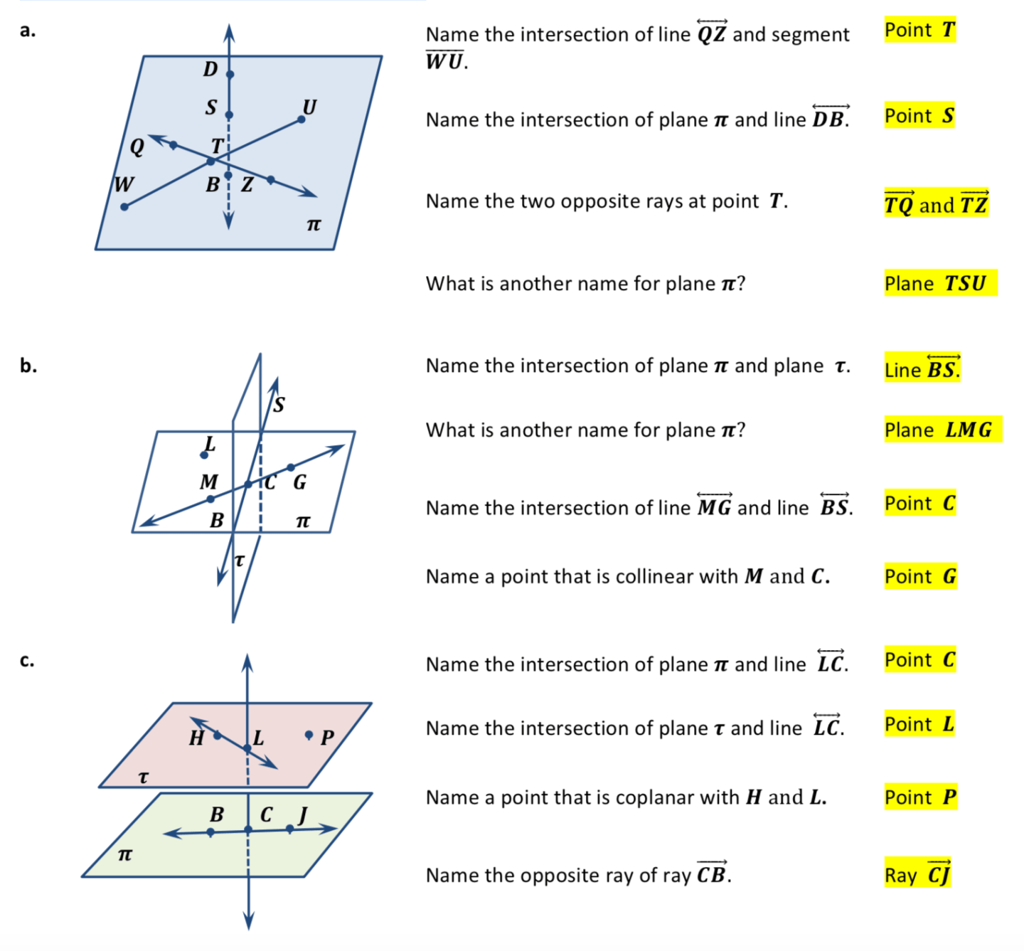 Points Lines and Planes Worksheets Plane geometry