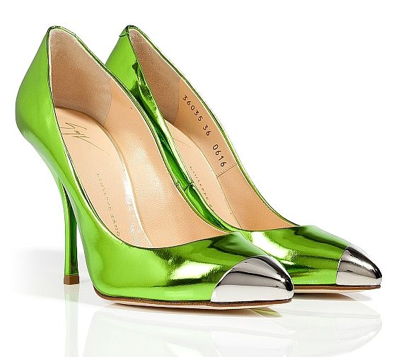 GIUSEPPE ZANOTTI Metallic Green Leather Cap Toe Pumps