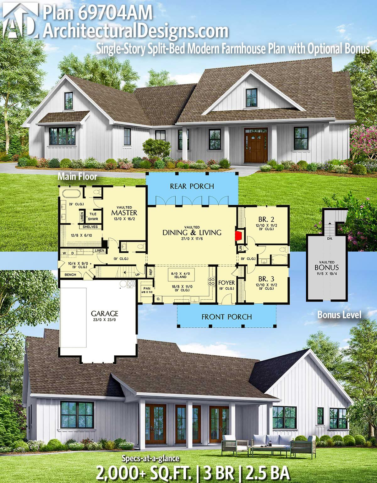 Architectural Designs Modern Farmhouse Plan 69704am Gives You 3 Bedrooms 2 5 Baths And 2 000 Sq Ft Modern Farmhouse Plans Farmhouse Plans Modern House Plans