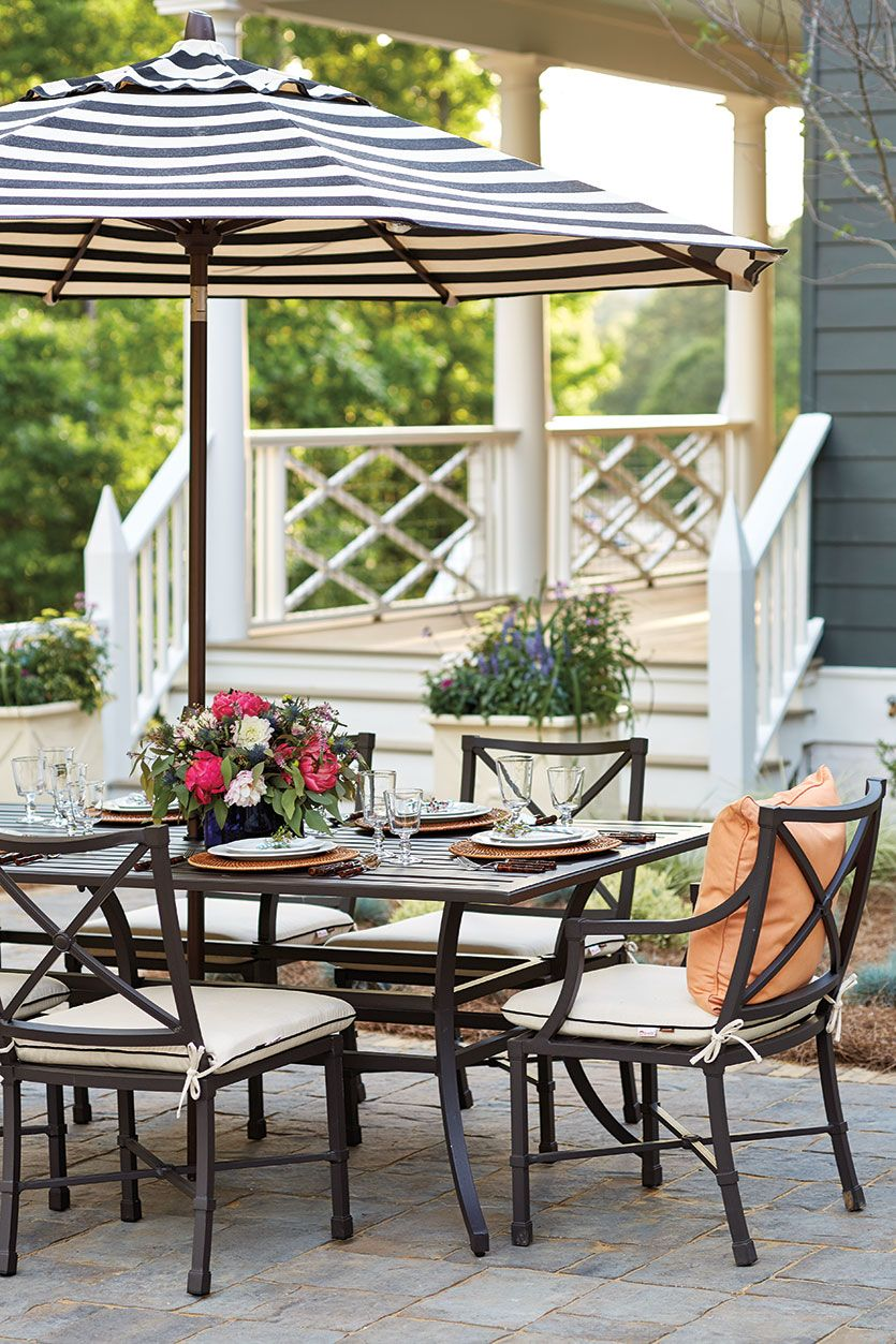 Interior Designer Margaret Kirkland's outdoor space in the 2016 Southern  Living Idea House in Mt. Laurel, Alabama - Margaret Kirkland's Dining Room Southern Living Outdoor Living