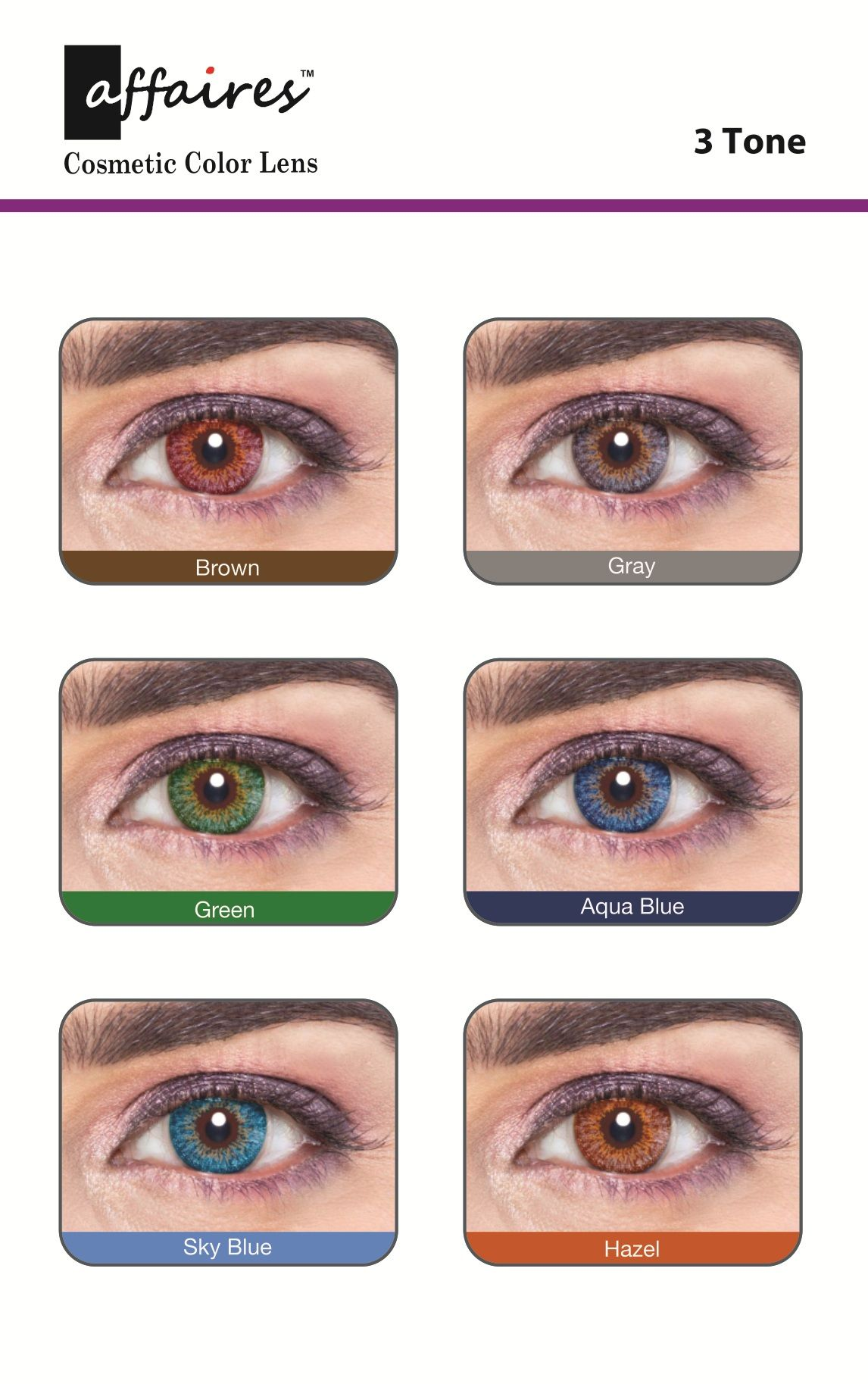Affaires Color Contact Lenses Chart 3 Tone Contact Lenses Colored Colored Contacts Color Cosmetics