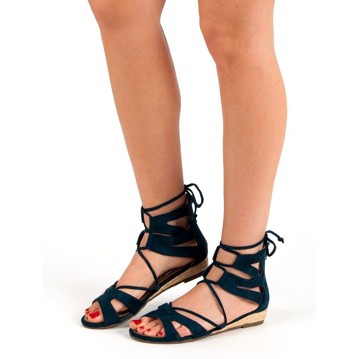 Corina Granatowe Sandaly Rzymianki Niebieskie Shoes Lace Up Flat Lace Up