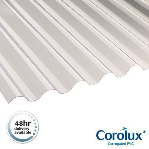Corolux Pvc Corrugated Roofing Sheets 77 20 Clear 3m X 660mm X 0 8mm Roofing Superstore Roofing Superstore Roofing Sheets Corrugated Roofing Pvc Roofing