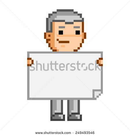 Vector pixel art person and the document - stock vector