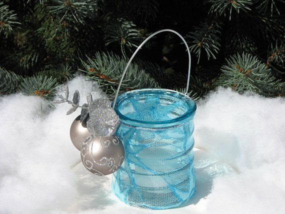 Shabby Chic Christmas Candle pale blue silver by TheVineDesigns, $4.95