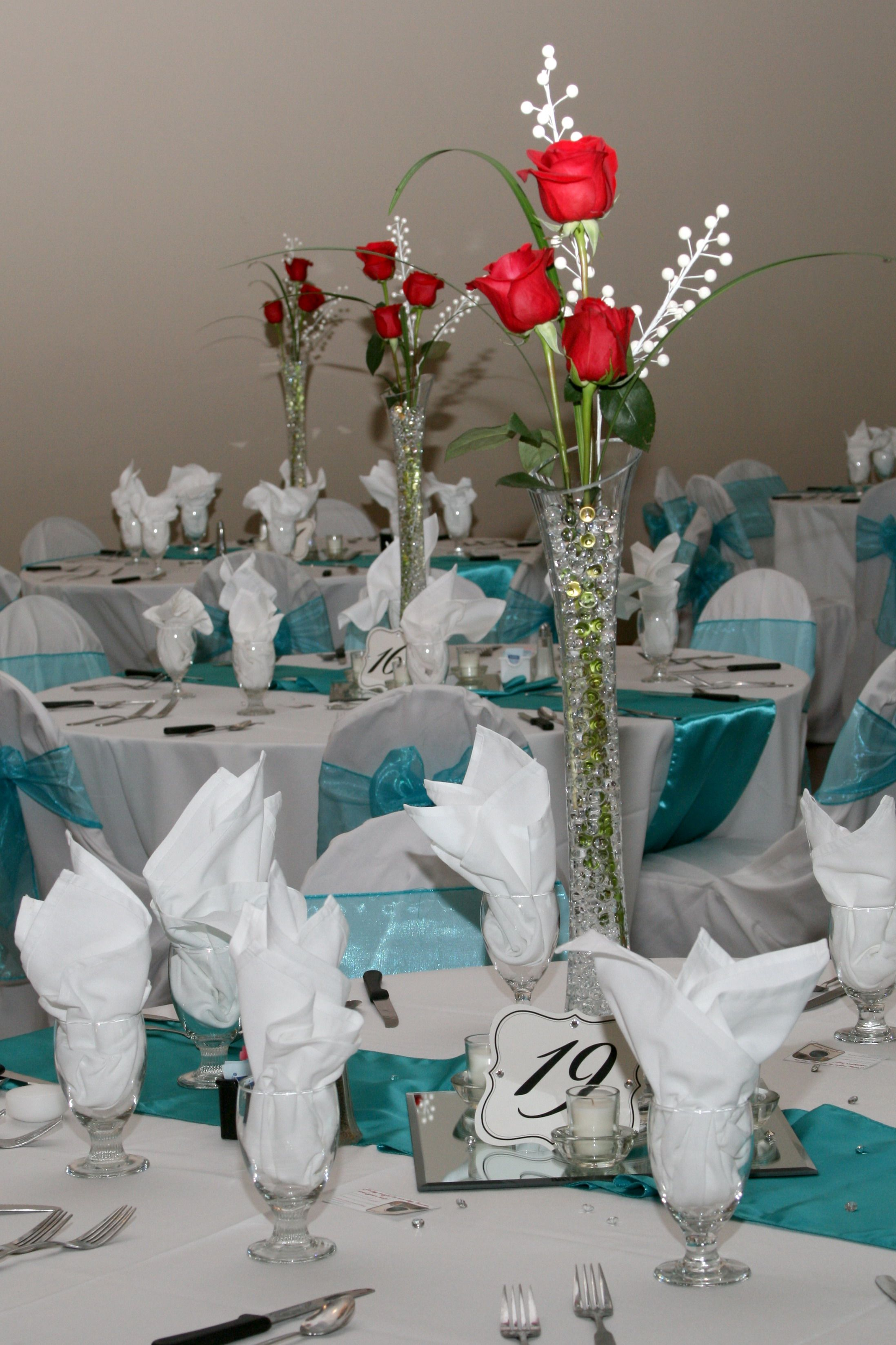 Red And Turquoise Wedding Centerpieces Chair Covers Pinterest