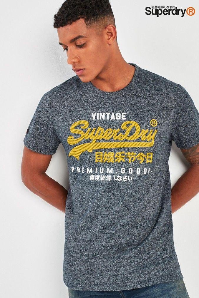 Mens Superdry Script Logo T Shirt Grey | Superdry, Script