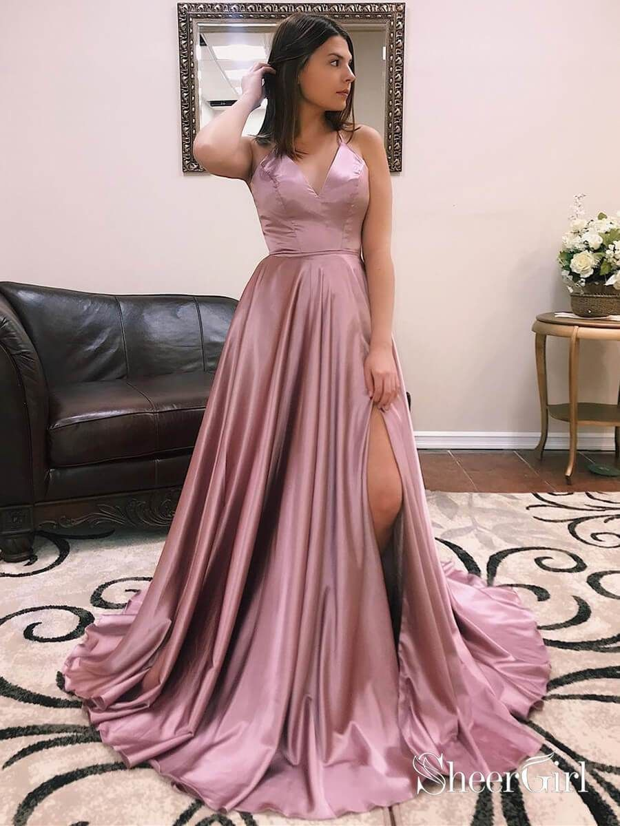 2bf8de5a80002 Long satin spaghetti strap burgundy prom dresses with slit. A line cheap  formal evening dress. Thigh split military ball gowns.|Sheergirl.com